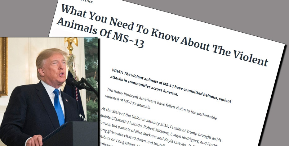 White House memo calls MS-13 'violent animals'