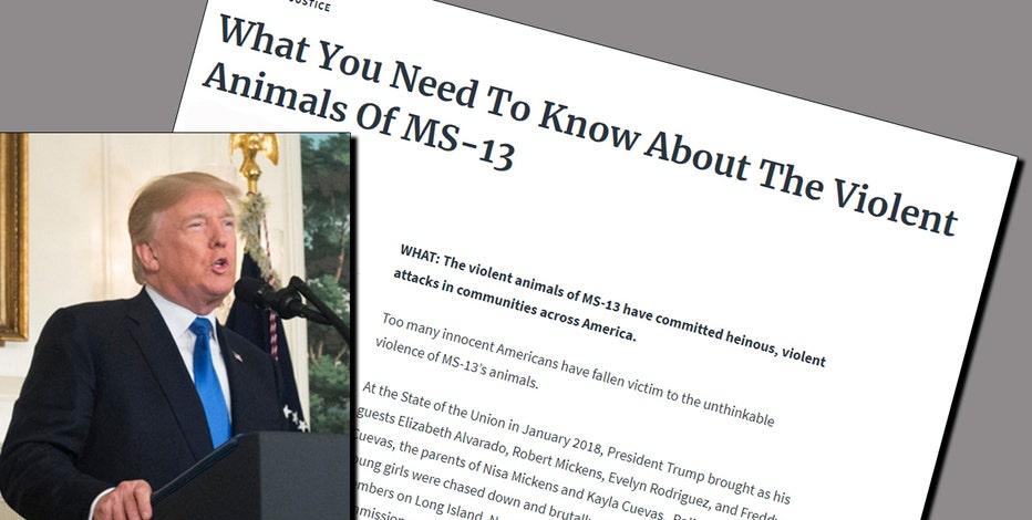 White House memo calls MS-13 'violent animals'