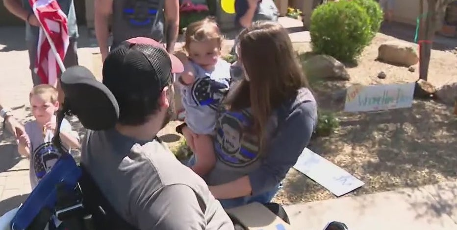 Phoenix officer battling rare spinal cord tumor returns home to warm welcome