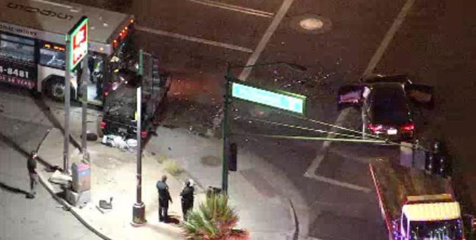 3 adults, baby critically injured in 3-car crash with Phoenix city bus