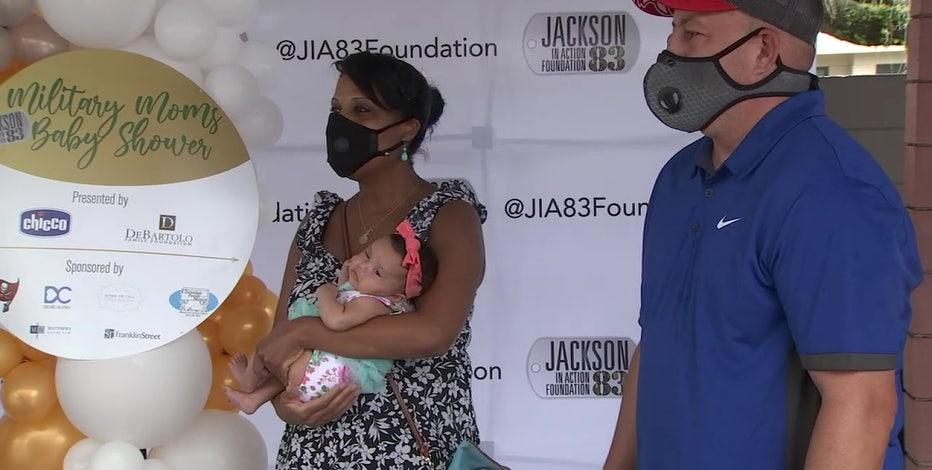 Former Buccaneer Vincent Jackson hosts annual baby shower for military moms