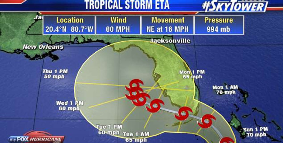 Eta regains tropical storm strength, warnings issued for South Florida
