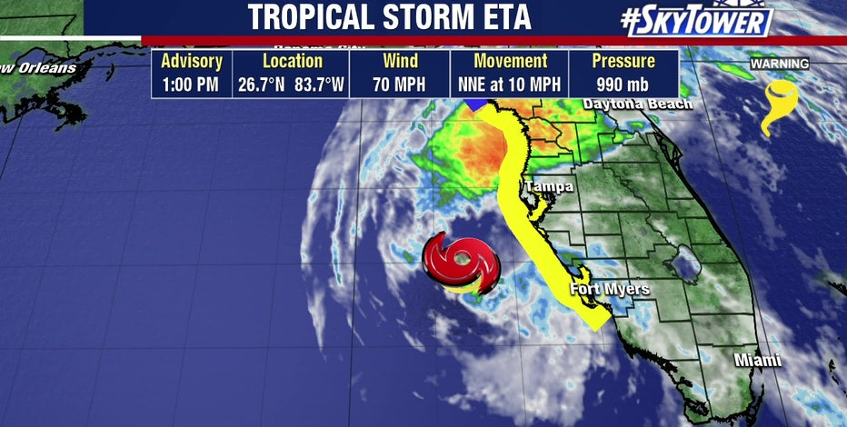Eta back down to a tropical storm, but severe weather continues across Tampa Bay area
