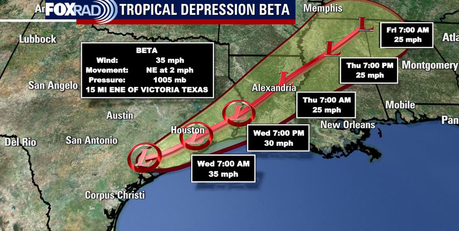 Beta weakens to tropical depression over Texas