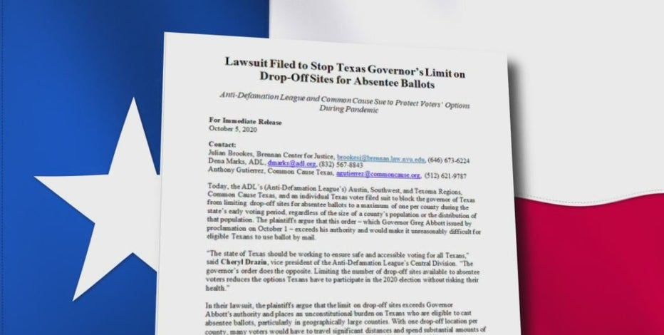 Mail in ballot lawsuit filed against Gov. Abbott