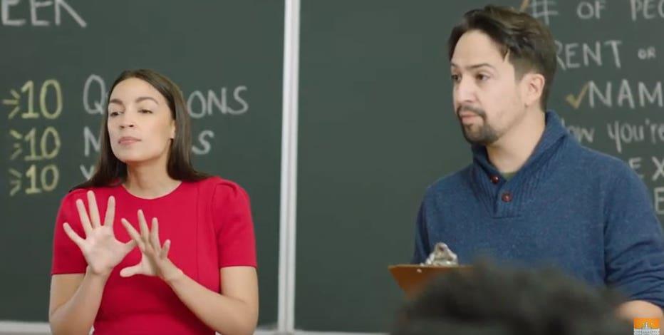 Ocasio-Cortez, Lin-Manuel Miranda promote NYC census