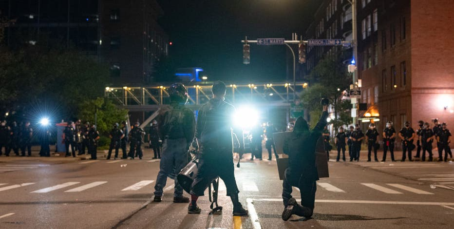 Chaotic scenes at late-night protest in Rochester