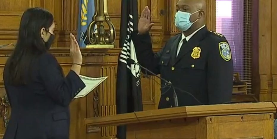Assistant Chief Michael Brunson sworn-in as acting Milwaukee Police Chief