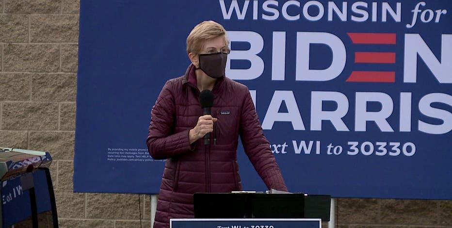Sen. Elizabeth Warren stumps for Biden in Greenfield