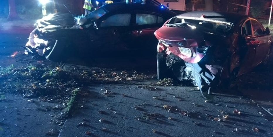 Driver sought after pursuit ends in crash near 40th and Fairmount