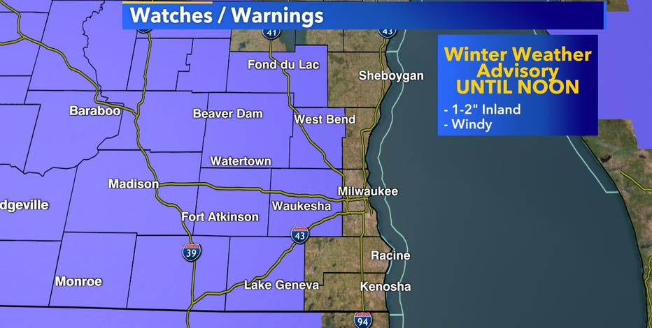 Winter weather advisory in effect for parts of SE Wisconsin until noon