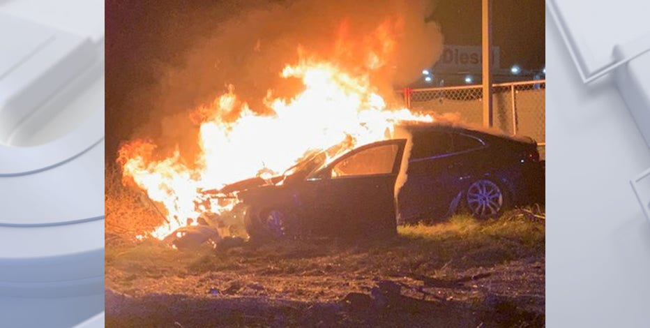 18-year-old cited for OWI after fiery crash in Racine County