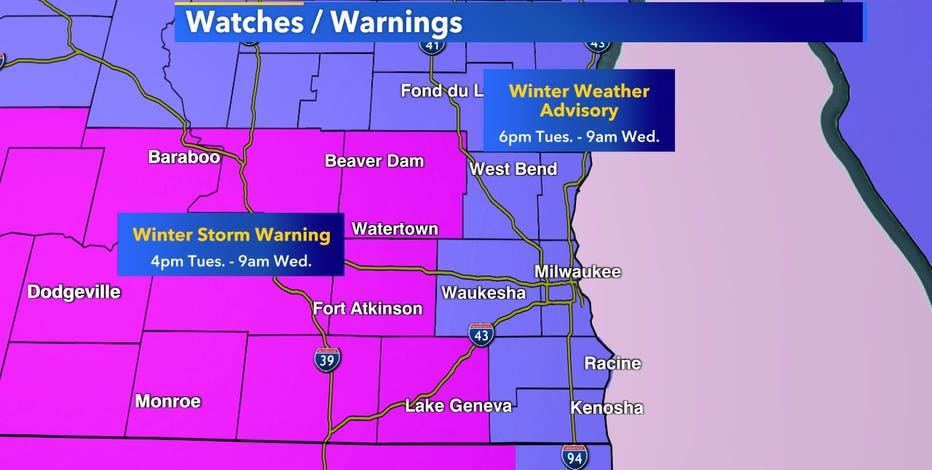 Winter weather advisory, winter storm warning in effect until 9 a.m.