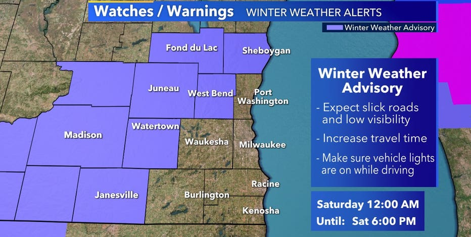 Winter weather advisory in effect from midnight to 6 p.m. Saturday