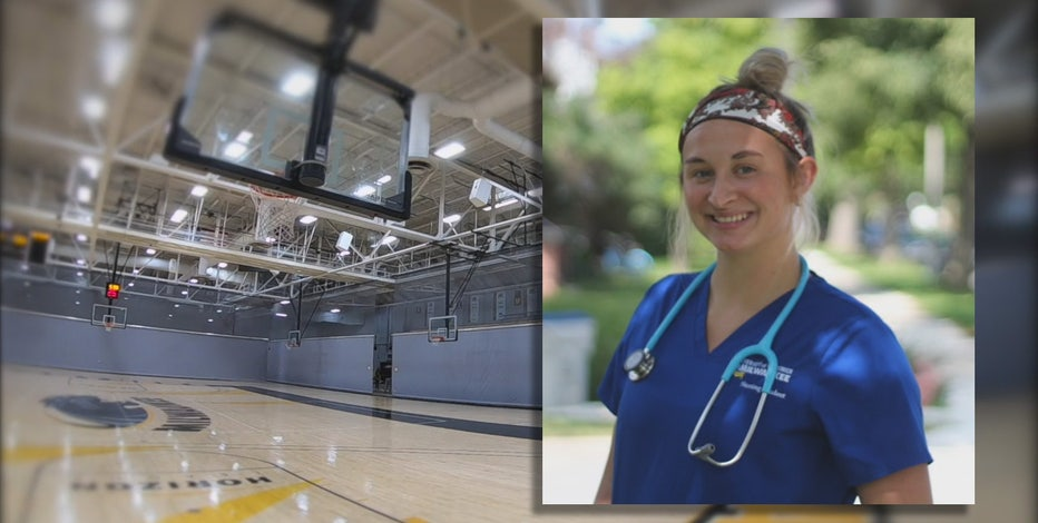 Amid COVID-19 pandemic, UWM basketball player interns at hospital