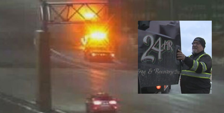 Milwaukee tow drivers hailed for pulling man from burning car on I-43