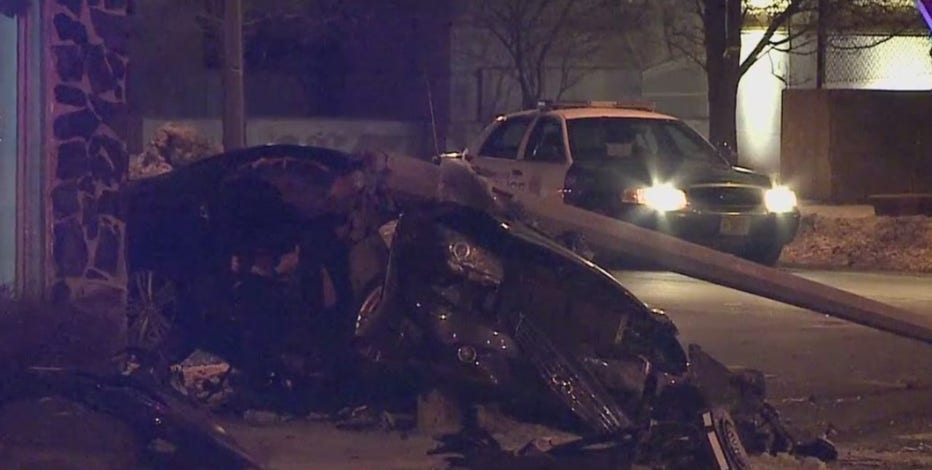 Driver crashes into utility pole while fleeing from police, 3 in custody