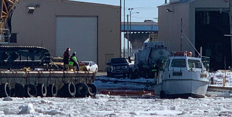 Crews work to retrieve Port workboat that sank Monday morning
