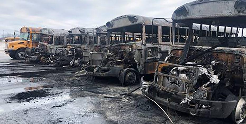 6 Burlington Area School District school buses heavily damaged by fire