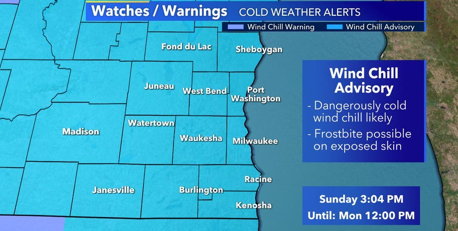 Wind chill advisory in effect for SE Wisconsin until noon Sunday