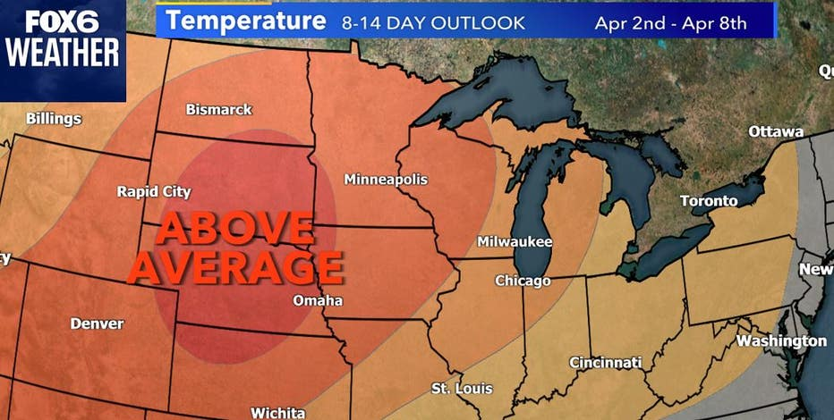 High temps for start of April favored to be above average for most of WI