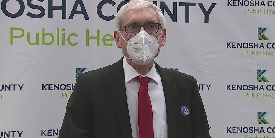 Gov. Evers tours Kenosha County Community COVID-19 vaccination clinic
