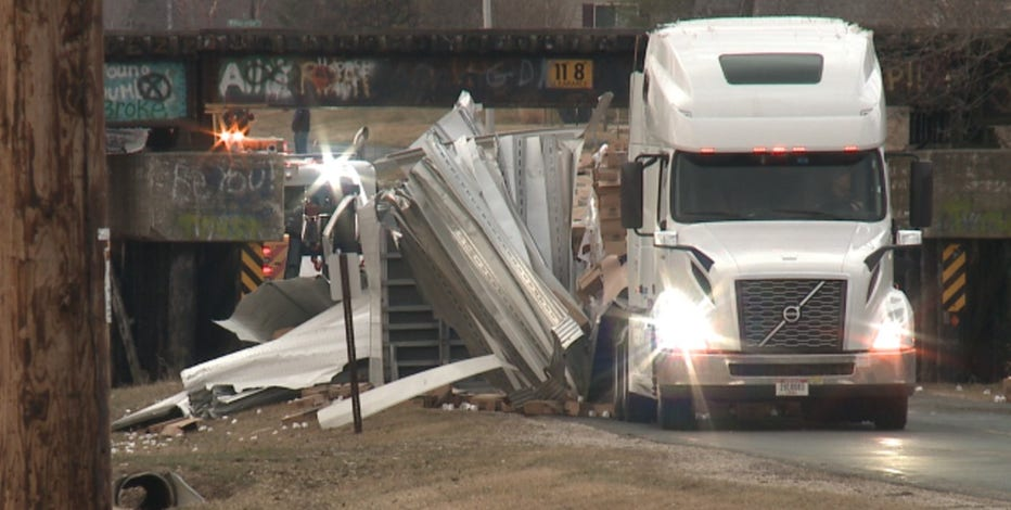 Semi driver cited after striking railroad overpass in Village of Union Grove