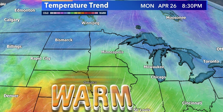 Warmer than average temperatures in the forecast for end of April