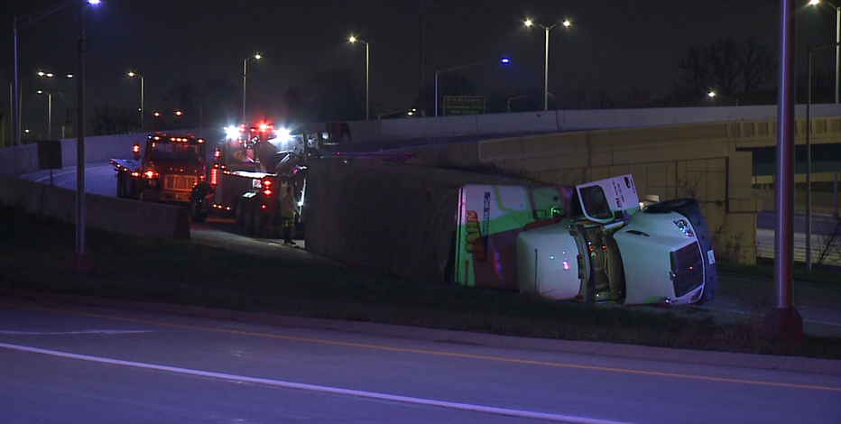 Semi truck flipped on side closes entrance ramp on I-894 at 27th Street