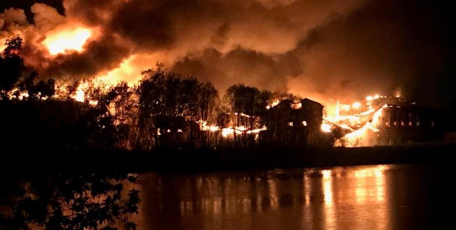 Menasha paper mill up in flames