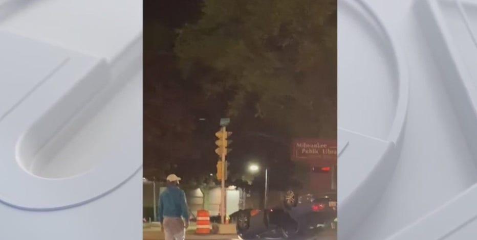 Milwaukee crash: Vehicle flips on side, no life-threatening injuries