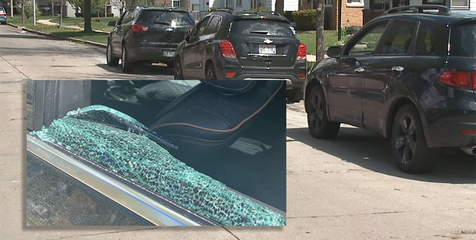 Car break-ins cover Milwaukee streets in shattered glass
