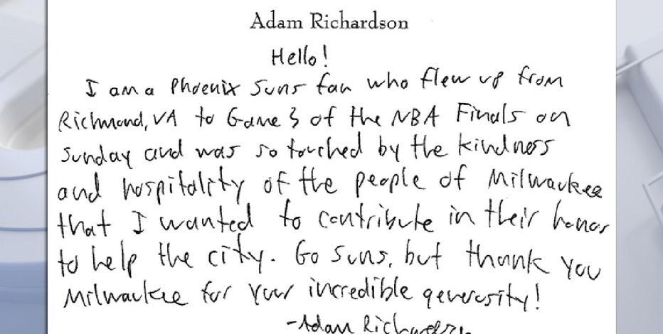 Suns fan donates to Wisconsin charity, notes Milwaukee generosity