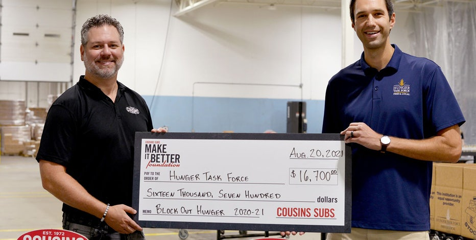 Cousins Subs, Bucks donate $16,700 to Hunger Task Force