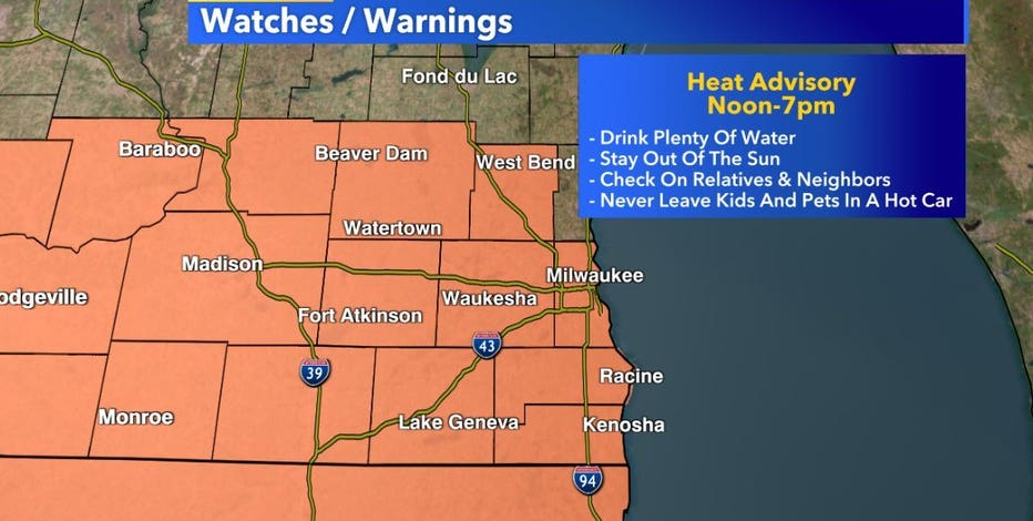 Heat advisory from noon-7 p.m. Tuesday, storms expected