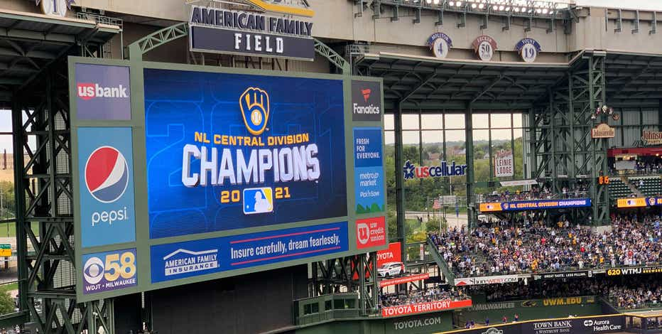 Brewers NL Central Division championship merch at Team Store
