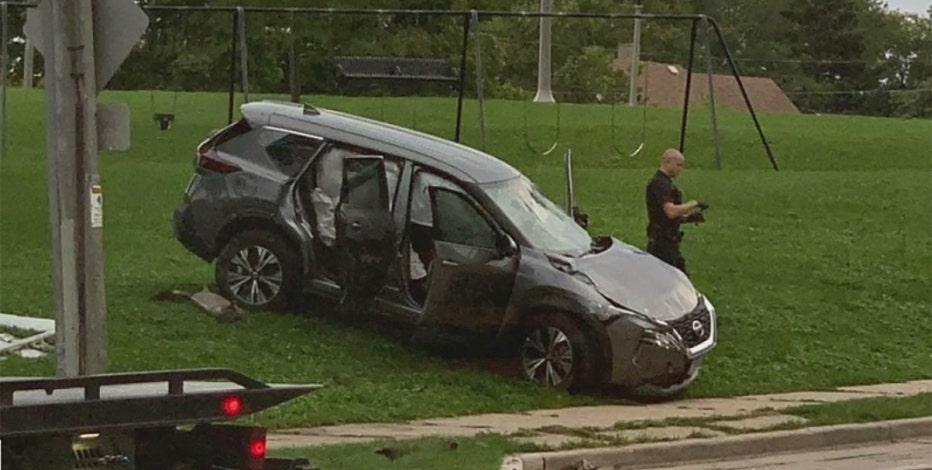 Shots fired near Milwaukee park; passing vehicle strikes pole, flips