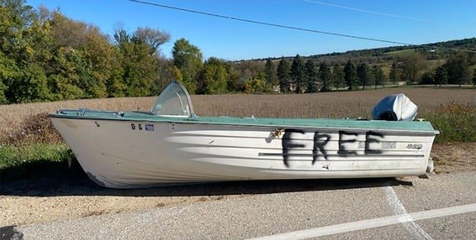 Boat left on Washington County roadway