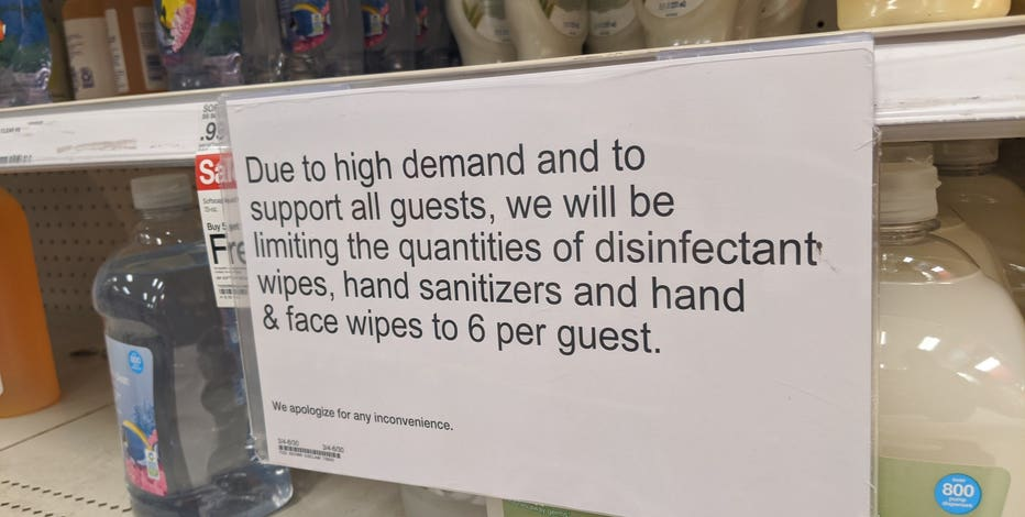 Target limiting quantities of hand sanitizers, disinfectant wipes per customer