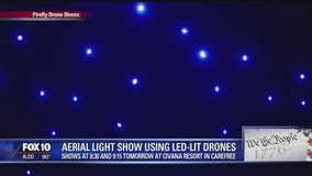 Aerial light show featuring LED-lit drones at Civana Resort