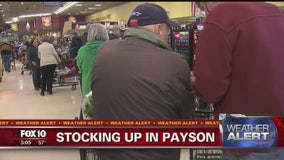 Payson residents head for grocery stores before the snowstorm