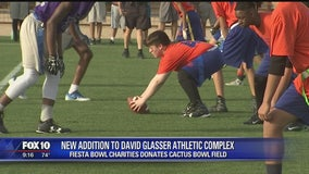 Turf from the Cactus Bowl donated to David Glasser Complex in Laveen