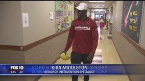 Arizona Cardinals cornerback Elie Bouka teaches sportsmanship at local academy