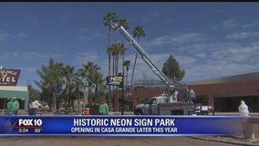 Park featuring neon signs prepares to open to the public in Casa Grande