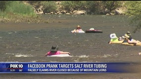 FAKE NEWS: Salt River not closed to tubers due to mountain lion attacks