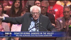 Senator Bernie Sanders addresses a fired up crowd in downtown Phoenix