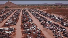 Drone Zone: Valley salvage yard has acres full of vintage cars