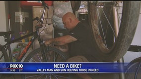 Laveen father and son helping those in need to get a bike