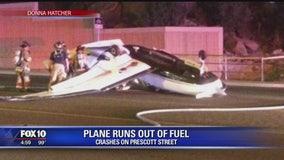 Small plane crashes, rolls onto Prescott street