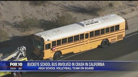 Buckeye school students sent to hospital following bus crash near Needles